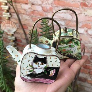 Collectible enamel miniature tea pots